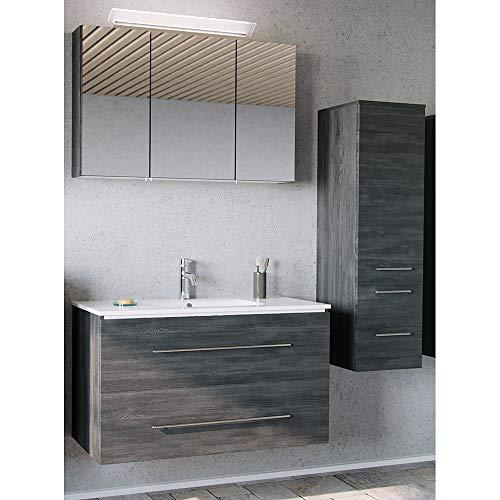 Lomadox Badezimmer Badmöbel Set in Graphit Struktur, 100cm Keramik-Waschtisch, LED-Spiegelschrank & Midischrank