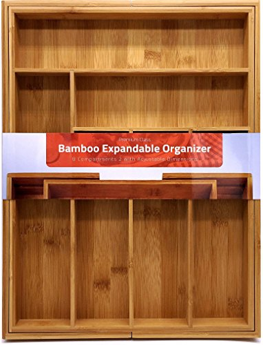 Utopia Kitchen Bamboo Cutlery & Knives Tool Tray - 8 Compartments - Expandable Organizer