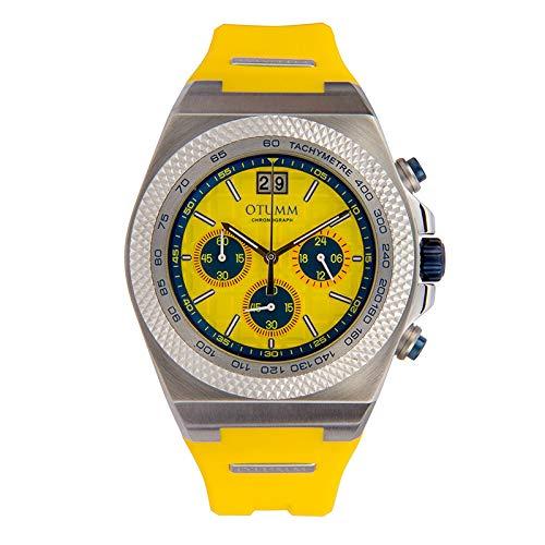 Otumm Big Date - Reloj unisex de 45 mm con correa amarilla