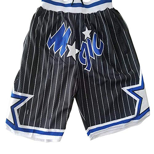 QIXUN Basketballhose NBA Magic Team Hose, Taschenhose, Basketball-Shorts, Bestickt, Retro XL schwarz