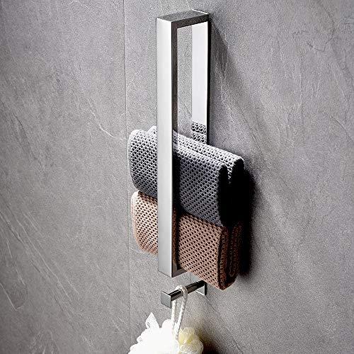 Lolypot toallero de acero inoxidable, toallero sin taladrar, toallero para invitados autoadhesivo, toallero adhesivo para baño, toallero para invitados 40cm con gancho para baño (cromo plateado)