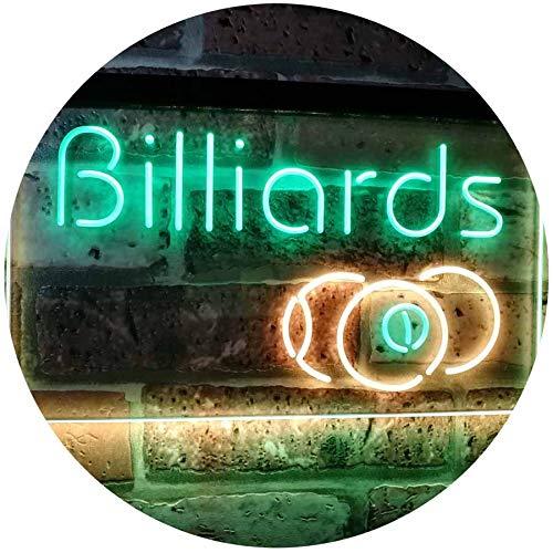 ADV PRO Billiards 9 Ball Game Room Pool Snooker Décor Man Cave Dual Color LED Barlicht Neonlicht Lichtwerbung Neon Sign Grün & Gelb 400 x 300mm st6s43-i2590-gy