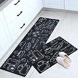 HONG Carpet Alfombras Cocina 2 Piezas, Negro Felpudo Lavable Alfombra De Cocina Decorativo Antideslizante Suave Respaldo De Gomautilizado En Cocina, Baño,50x80cm+50x160cm
