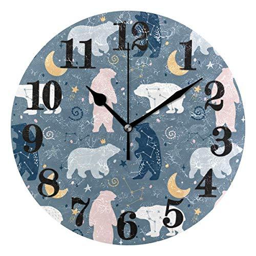 gardenia store - Reloj de Pared Redondo con Pilas, diseño de Oso de Las Nieves