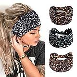 Zoestar Boho, diademas anchas, bufandas para la cabeza de yoga, elegantes estampadas, diademas elásticas turbantes para mujeres y niñas (paquete de 3) (estampado de animal)