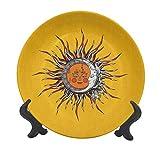 Sun - Plato decorativo de cerámica de 25,4 cm, diseño abstracto celestial con caras antropomórficas, hojas y rayas remolinadas, cielo decorativo para mesa de comedor, decoración del hogar