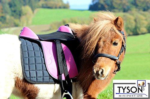 Ponysattel Sattel Minishetty Shetty Mini Pony Pink Schwarz oder Blau 10 12 Zoll incl Zubehör Sattelset SET Tysons auch f. Holzpferd geeignet (12 Zoll, Pink / Schwarz)