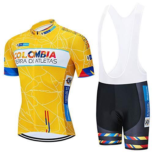 Completo Ciclismo Uomo Abbigliamento da Ciclismo Estivo Maglia Corte + Salopette con 3D Gel Cuscino Traspirante per MTB Bici da Corsa
