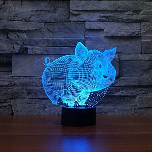 16 Cambio de Color Lámpara de Noche de Ilusión óptica 3D Avión cerdo Ideas de Festivo y Regalos para Niños Niñas y Adultos