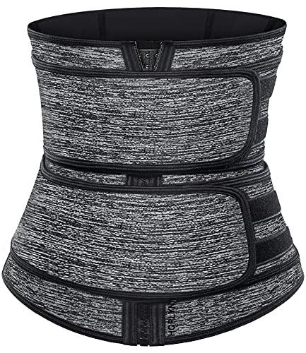 HOPLYNN Neoprene Sweat Waist Trainer Corset Trimmer Belt for Women, Waist Cincher Shaper Slimmer Gray XXX-Large