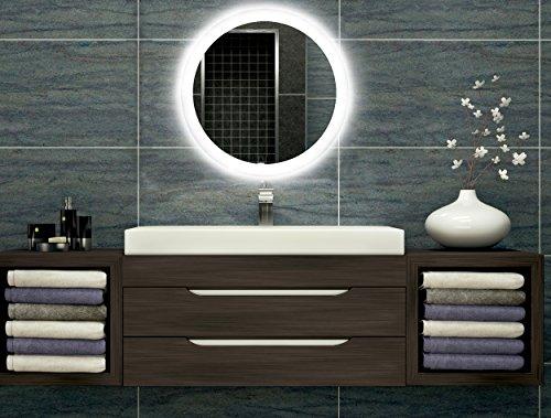 Bilderdepot24 Badezimmerspiegel mit Beleuchtung LED Spiegel - 70 cm Ø - runder Badspiegel mit Licht - Design Spiegel für Bad und Gäste WC hinterleuchtet - beleuchteter Wandspiegel - O-LED_FI
