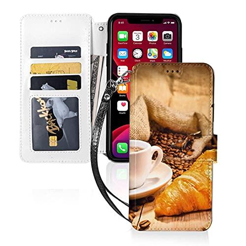 Estuche para teléfono LINGF,Taza de café con Estuche de Croissant para iPhone 11 Pro MAX Estuche Lindo para Mujeres,Hombres,Billetera,Estuche de Cuero con Correa,Estuche Protector