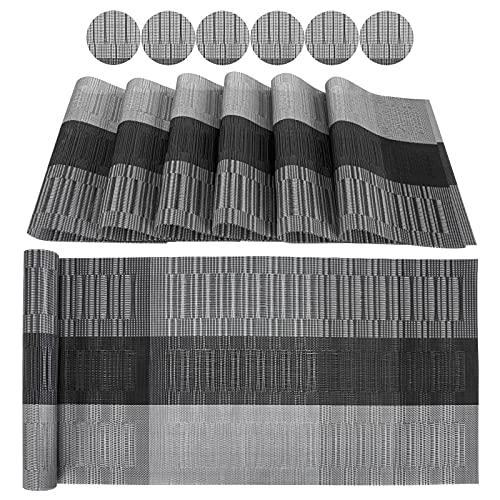 Ansontop Tovagliette in PVC, lavabili, set da 13 pezzi – 13 runner da tavolo, 6 tovagliette lavabili, 6 sottobicchieri in vetro   tovagliette per la casa, la cucina, il ristorante (E)