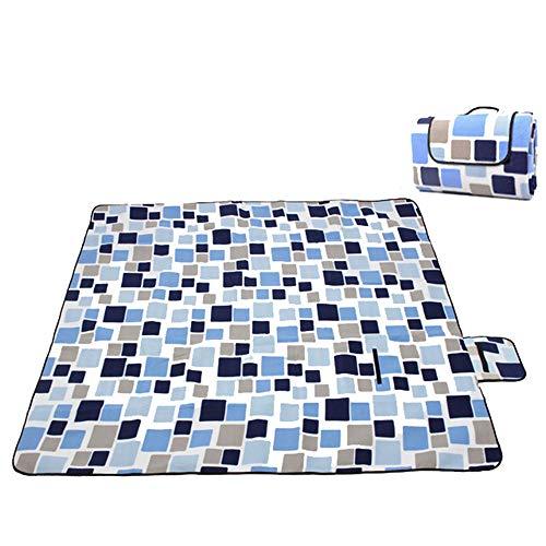 SFBBAO Picknickdecke wasserdichte Klapppicknickmatte Outdoor Camping Beach Feuchtigkeitsbeständige Decke Tragbare Matte 200 * 150cm blaues Raster