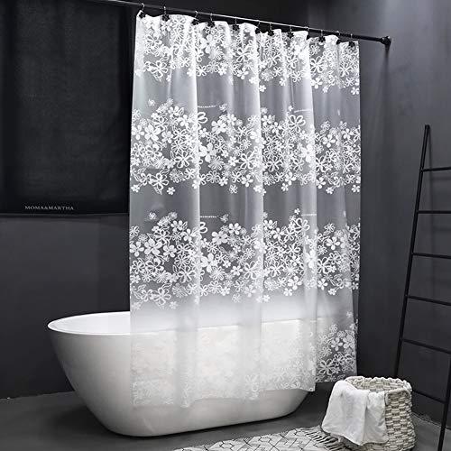 WEIXINHAI Cortina De Ducha Cortinas De Baño Impermeable - PEVA Prueba de Moho Impermeable al Baño,Antimoho,Antibacteriano,con 12 Ganchos (White Flower, 180 x 200 cm)