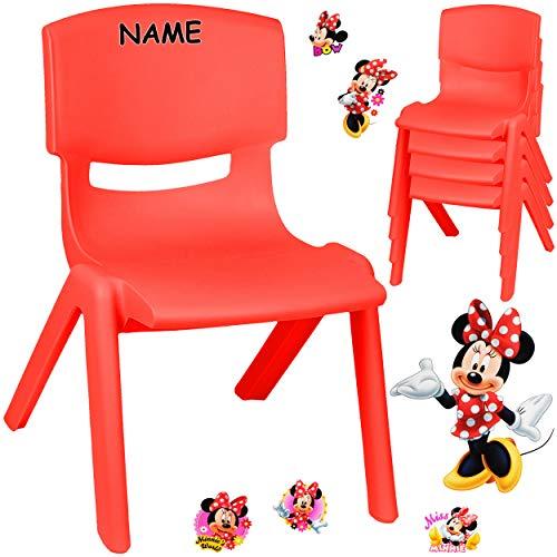 alles-meine.de GmbH Kinderstuhl / Stuhl - Motivwahl - rot + Sticker - Disney Minnie Mouse - inkl. Name - Plastik - bis 100 kg belastbar / kippsicher - für INNEN & AUßEN - 0 - 99 ..