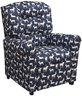 Brazil Furniture Children's Button Back Recliner, Deer Blue