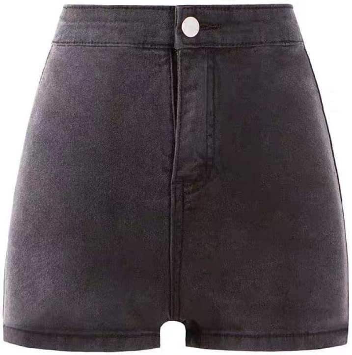 CDDKJDS Summer High Waist Sexy Denim Shorts Women S Tight Height Elastic Thin Hot Pants Fashion Versatile A-line Pants One Button (Color : Dark Grey, Size : M)