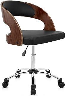 Silla de escritorio de la computadora Diseño de sillas de oficina ejecutivo moderno, con acolchado grueso de primera calidad for un óptimo confort de altura ajustable Easy Clean chapa de nogal / cuero