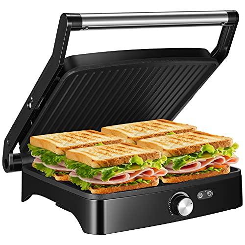OSTBA Parrilla eléctrica, Panini Press Grill Sandwichera de interior con control de temperatura,...