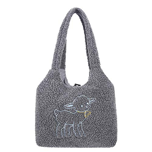 Aoten Women Canvas Tote Purse Lamb Like Fabric Shoulder Bag Simple Casual Large Capacity Printing Embroidery Shopping Bag