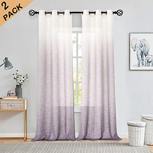 Ombre Rayon Blend Heavy Linen Texture Window Curtain Panel 6 Grommets Top Gradient Cream White to Lavender Purple Window Drapes Treatment for Living Room/Bedroom, Set of 2, 40' x 95'
