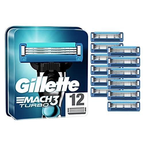 Gillette Mach3 Turbo Rasierklingen, 12 Ersatzklingen für Nassrasierer Herren mit 3-fach Klinge