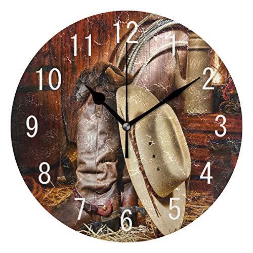 Use7 Home Decor American West Traditionelle Runde Acryl-Wanduhr, nicht tickend, geräuschlose Uhr, Kunst für Wohnzimmer, Küche, Schlafzimmer