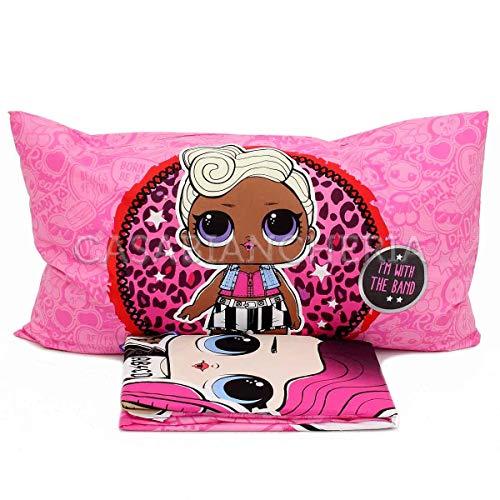 Lo Completo Bambina Letto Singolo LOL Surprise Rosa-Set comprende: Lenzuolo di sopra, sotto con Angoli e Federa, Multicolore