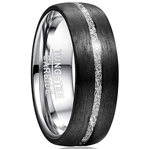 TUNGSTORY 8mm Herren Ring Carbon Fiber Inlay imitiertes Meteoriten-Inlay Wolframcarbid Eheringe für Männer Frauen Größe 57 (18,1)