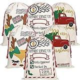 KEFAN Paquete de 6 Bolsas navideñas de Lona con diseño de Saco de Papá Noel con Cordones para Envolver de Gran tamaño 70x50 cm (Paquete de 6 09)