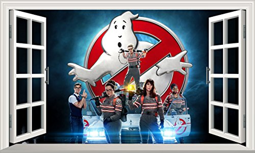 Ghostbusters V101 Magic Window Wall Sticker Selbstklebendes Poster Größe 1000 mm breit x 600 mm tief (groß)