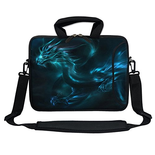 Meffort Inc 11.6 Inch Neoprene Laptop Bag with Extra Side Pocket, Soft Carrying Handle & Removable Shoulder Strap for 10' to 11.6' Size Ultrabook Chromebook (Blue Dragon)