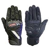 Full finger Leather Motorcycle Gloves Carbon Fiber Knuckle Armored Motorbike Gloves With Reflective Tips For Men(Short-Black, L)