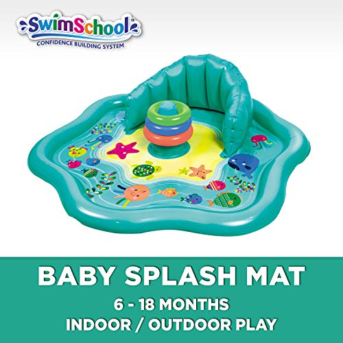 SwimSchool Splash Play Mat, Inflatable Kiddie Pool with Backrest for Babies & Toddlers, Includes Three Toys (SSI11262)