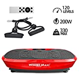 3D Vibration Platform Exercise Machine, Dual Motor Oscillation Whole Body Vibration Fitness Plate with Remote Control and Resistance Bands for Weight Loss Toning(Red)