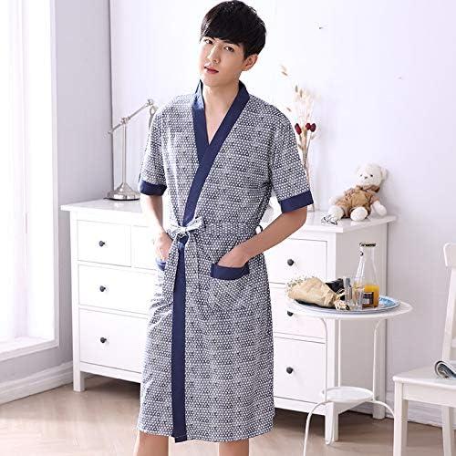 XINSU HOME Robe de soirée en coton peigné d'été à hommeches courtes pour hommes (Couleur   gris, Taille   XL)