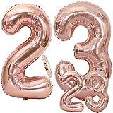 Feelairy Ballons Numéro 23 Or Rose XXL, 23 Ans Décoration Anniversaire, Ballon D'hélium Géant Numero 23 en 2 Tailles, 40'et 16' Chiffre Ballons pour La Décoration De Fête (100cm + 40cm)