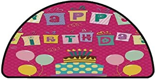 Birthday Decorations for Kids Comfortable Semicircle Mat,Light Pink Polka Dots Backdrop Happy Birthday Boxes Image for Living Room,31.4