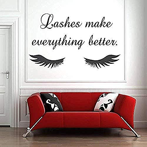 Wall Sticker Eye Eyelashes Wall Decal Sticker Lashes Extensions Sourcils Brows Beauty Salon Home Decor Decals Amoveable Vinyl 69X42Cm