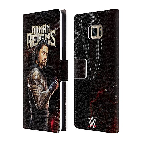 Head Case Designs Offizielle WWE Roman Reigns Superstars Leder Brieftaschen Huelle kompatibel mit Samsung Galaxy S7 Edge