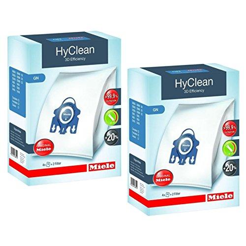 Miele - Sac Hyclean GN véritables pour aspirateurs C2 C3 Cat & Dog PowerLine Silence EcoLine + filtres (2 boîtes)