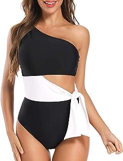 Dixperfect Women's Cut Out One Piece Swimwear Bathing Suit One Shoulder Beachwear Monokini