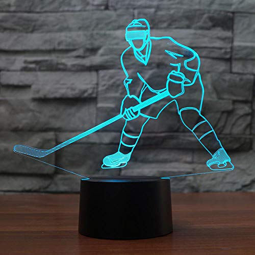 YDBDB 3D Visual Ice Hockey Player Form 7 Farbe Usb 3D-Nachtlicht Home Illumination Schlafzimmer Dekor