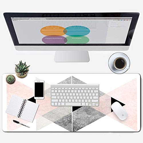 ZYCCW Large Gaming Mouse Pad, Oversized Extended Mat Desk Pad Keyboard Pad (31.5'x11.8'x0.15') Thick Non-Slip Rubber Stitched Edges (Rose Gold Marble Triangle Design)
