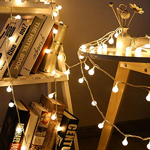 JISUSU Globe String Lights,20 Feet 40 LED Warm White Waterproof Decorative-Fairy Lights-for Indoor-Outdoor Party Wedding Christmas Tree Garden