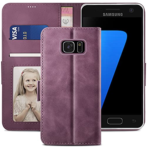 YATWIN Handyhülle Samsung Galaxy S7 edge Hülle, Klapphülle Samsung Galaxy S7 edge Premium Leder Brieftasche Schutzhülle [Kartenfach][Magnet][Stand] Handytasche für Samsung Galaxy S7 edge Case, Weinrot