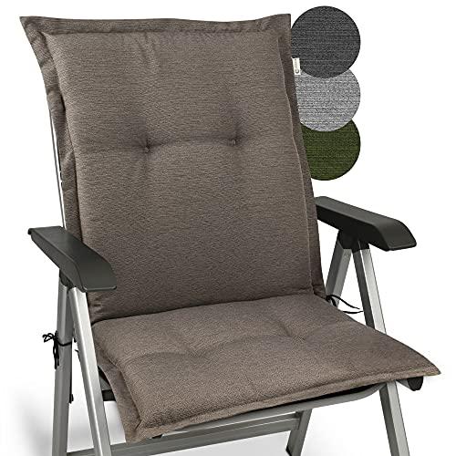 Beautissu Cojín para sillas de balcón o Asiento Exterior con Respaldo bajo Premium - 105x50x7 cm - Cojines para tumbonas y terrazas HighLux NL - Made in EU - Taupe
