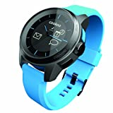 Cookoo Watch, Smartwatch Classico Bluetooth con Vibrazione, Colore Nero/Azzurro