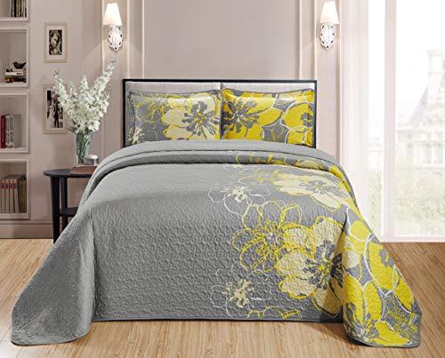 Kids Zone Home Linen - Colcha para cama de matrimonio, 3 piezas, tamaño grande, diseño de flores, color gris y amarillo